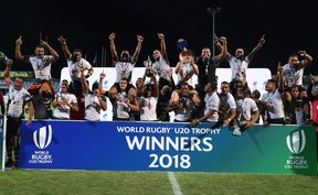 The Baby Flying Fijians lift the U20 Trophy.