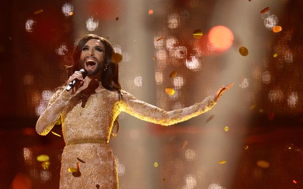 "Conchita Wurst of Austria performs ""Rise Like A Phoenix"" after winning the Eurovision Song Contest."