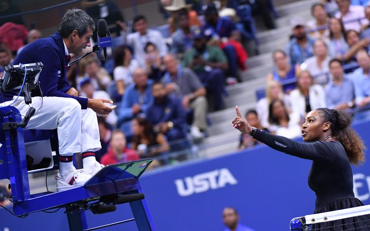 Serena Williams argues with umpire Carlos Ramos during the final of the U.S. Open.