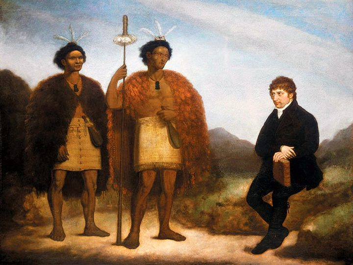 Maori chiefs Hongi Hika and Waikato meet with Missionary Thomas Kendall.