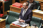 Labour MP Andrew Little, Minister of Treaty Negotiations speaks to Iwi in the Gallery during an iwi bill debate