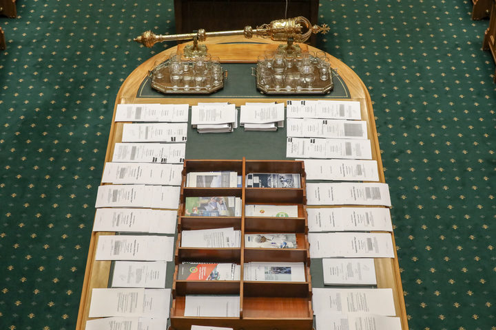 The Table in Parliament where the mace sits and documents and amendments are lodged
