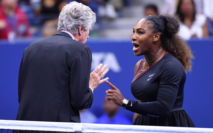 Serena Williams and umpire Carlos Ramos at the US Open