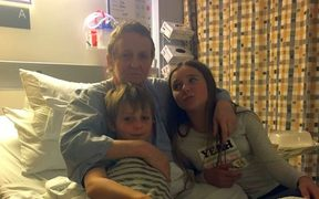 Cancer patient Patricia Tear with son Riley, 9,and Ruby, 11.
