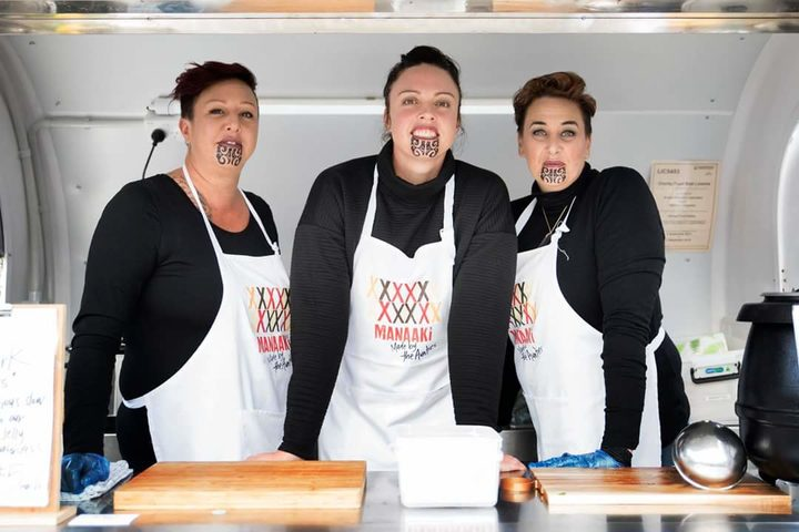 Aunties Renata Wallace, Tineka Smith and Aroha Bond of Manaaki, which has been