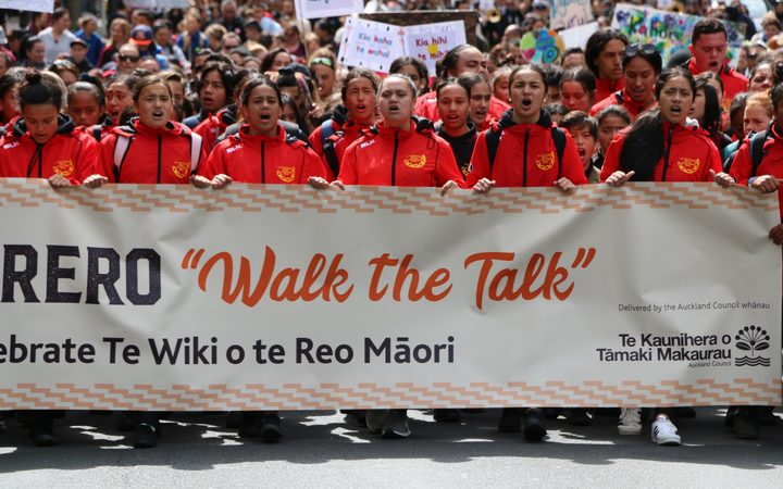 The hīkoi for te wiki o te reo Māori took place in central Auckland.