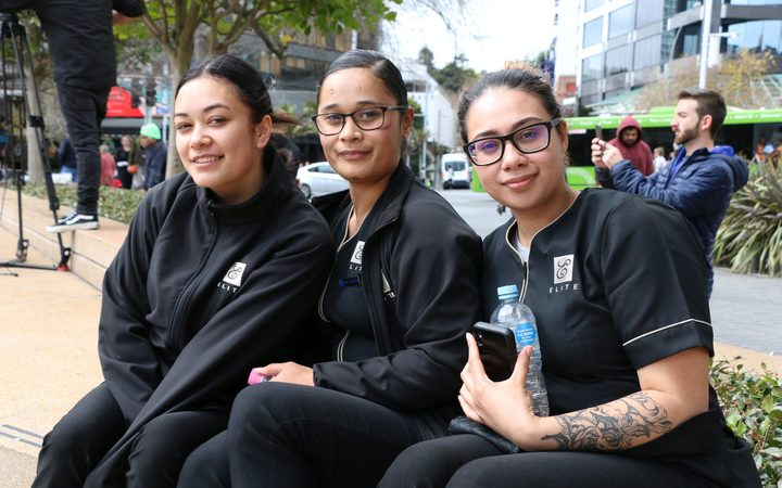 Ricky Steiner (left) and Rangi Timutimu (centre) were in Aotea Square to support the hīkoi.