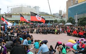 The hikoi wrapped up in Aotea square.