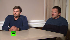 A screengrab of the the Russian men identified as Alexander Petrov and Ruslan Boshirov speaking to the RT channel in Moscow,