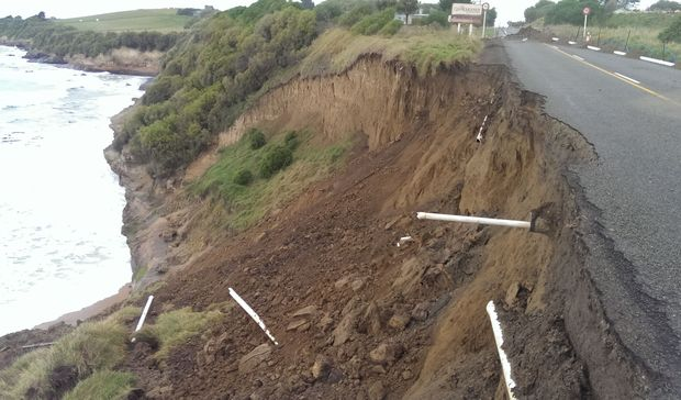 The collapsed section of Beach Road near Kakanui, North Otago.