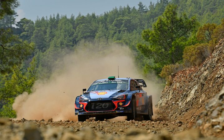 Hayden Paddon and Seb Marshall competing in Rally Turkey