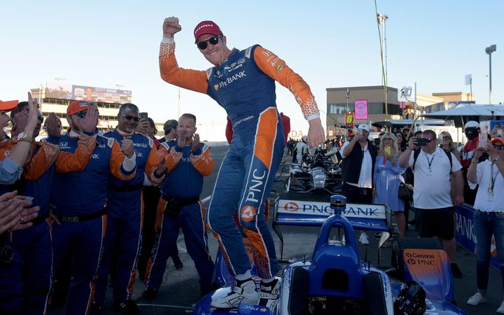 Scott Dixon celebrates after becoming the 2018 Verizon IndyCar Series Champion at Sonoma Raceway in California.