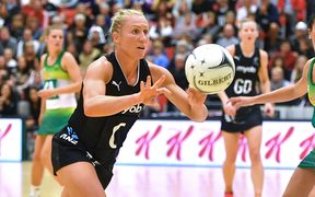 Silver ferns captain Laura Langman takes a pass during the Netball Quad Series vs South Africa.
