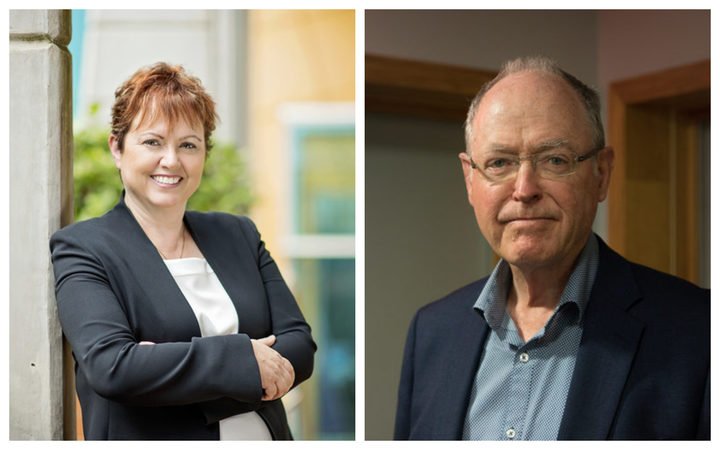 Massey University vice-chancellor Jan Thomas and Don Brash