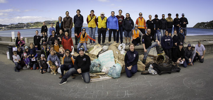 The Wellington South Coast Clean-Up is an annual event which sees community groups picking up rubbish along the capital's coast between Breaker Bay and Owhiro Bay.