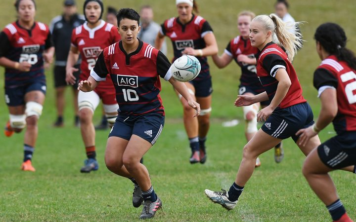 Grace Steinmetz (second from right) during a Black Ferns wider training group session in June.