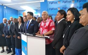 The leader of FijiFirst Frank Bainimarama announces the party's candidates for the 2018 election
