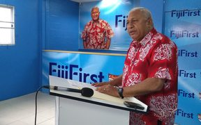 Fiji's Prime Minister Frank Bainimarama announcing the candidates standing for his FijiFirst party in the 2018 election