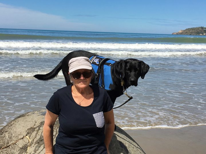 Ann Dredge with support dog, Lexus