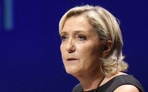 Leader of France's Rassemblement National (RN) far-right political party Marine Le Pen delivers a speech at a meeting in Fréjus, southern France on September 16, 2018.