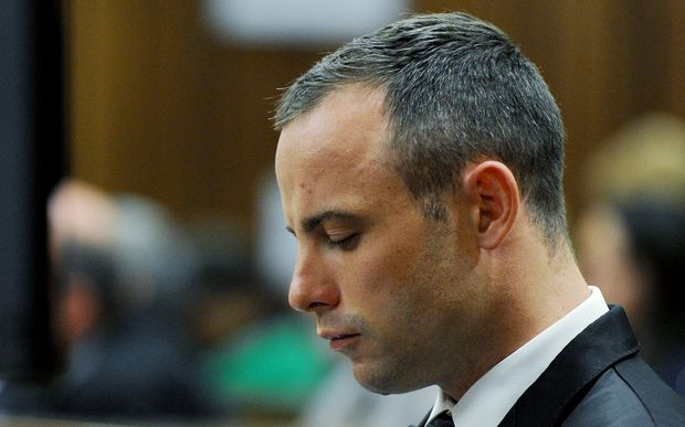 Oscar Pistorius sits in the dock during his murder trial.