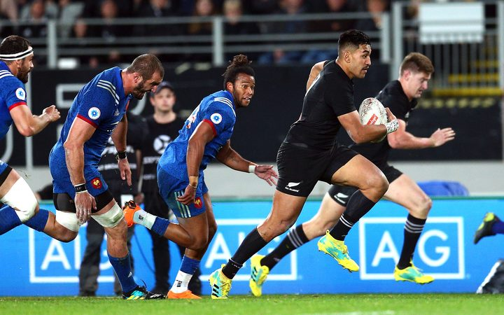 Reiko Ioane leaves the French in his wake during the All Blacks win at Eden Park in June.