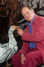 Author Michael Morpurgo, pictured with the goose puppet from the London stage production of War Horse.