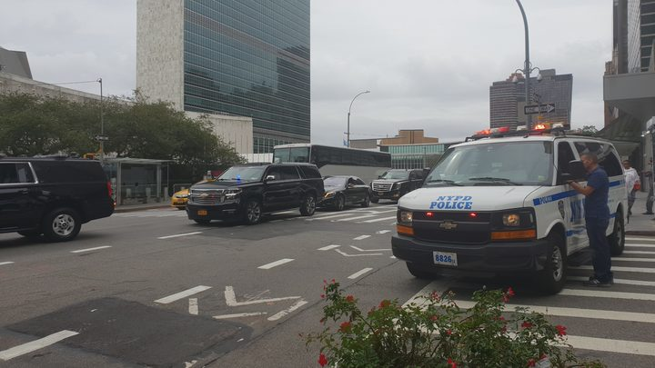 Security is tight as world leaders arrive in New York. Photo / Chris Bramwell