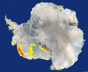 Areas of accelerated melting in West Antarctica.