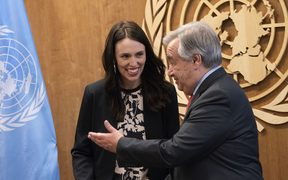 UN Secretary-General Antonio Guterres greets Prime Minister Jacinda Ardern at the United Nations in New York 23 Sept 2018.