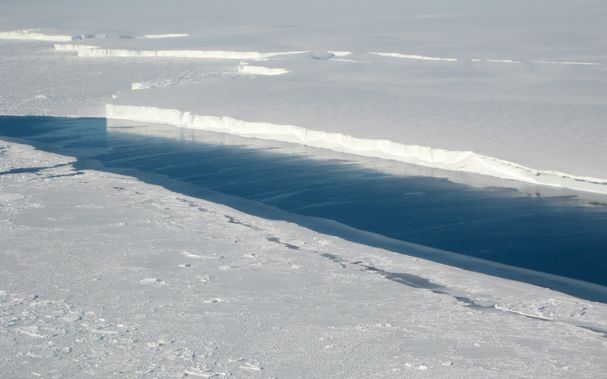The ice front of Venable Ice Shelf, West Antarctica - when such glaciers across the region melt, they willl add roughly 1.2 metres to global sea levels.