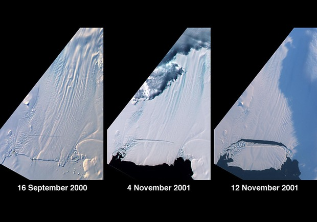 The break-off of a large tabular iceberg from the Pine Island Glacier in West Antarctica. Pine Island Glacier is the largest discharger of ice in Antarctica and the continent's fastest moving glacier.