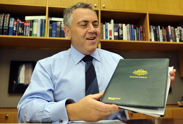Federal treasurer Joe Hockey holding his budget speech at Parliament House in Canberra.