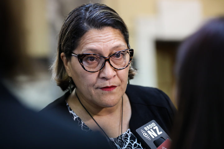Labour MP Meka Whaitiri talks to media on her return to Parliament