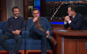 Bret McKenzie and Jemaine Clement  on The Late Show with Stephen Colbert to promote the Flight of the Conchords HBO special.