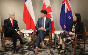 Chilean President Sebastian Pinera, Canada's Prime Minister Justin Trudeau and Prime Minister Jacinda Ardern.