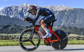 Patrick Bevin on his way to a top ten finish in the individual time trial at the world champs in Austria.