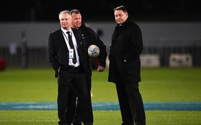 All Black selector Grant Fox, Assistant coach Ian Foster and coach Steve Hansen.