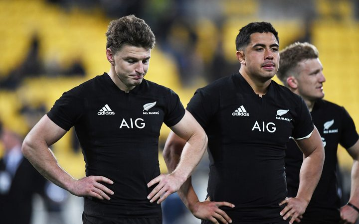 Beauden Barrett and Anton Lienert-Brown at the final whistle after losing to South Africa 2018.