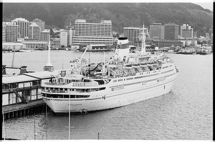 Russian cruise ship Mikhail Lermontov berthed at Wellington Harbour.