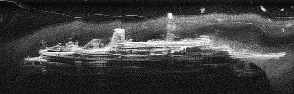 A sonar image of the Mikhail Lermontov on the bottom of Port Gore.
