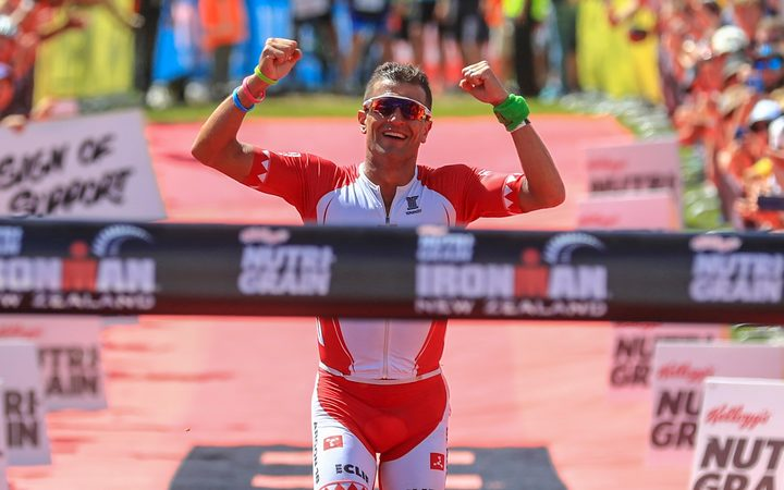 Terenzo Bozzone wins, Ironman New Zealand, in Taupo in March.