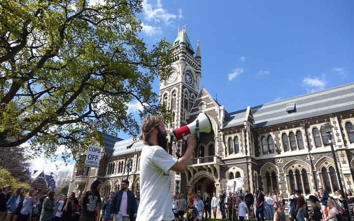 Otago University Students' Association recreation officer Josh Smythe leads the protest against the proctor's activities.