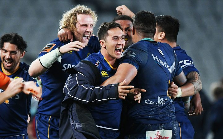 Otago celebrate an upset win over Auckland at Eden Park.