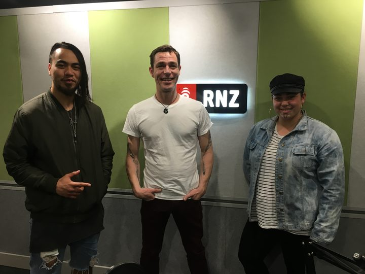 Hamiora Tuari, RNZ's Alex Behan and Makaira Berry of Te Kākano