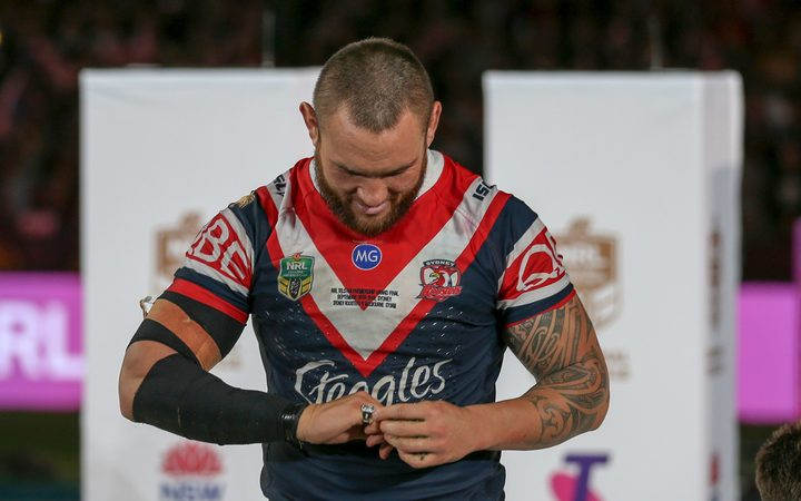 Jared Waerea-Hargreaves looks at his premiership ring.