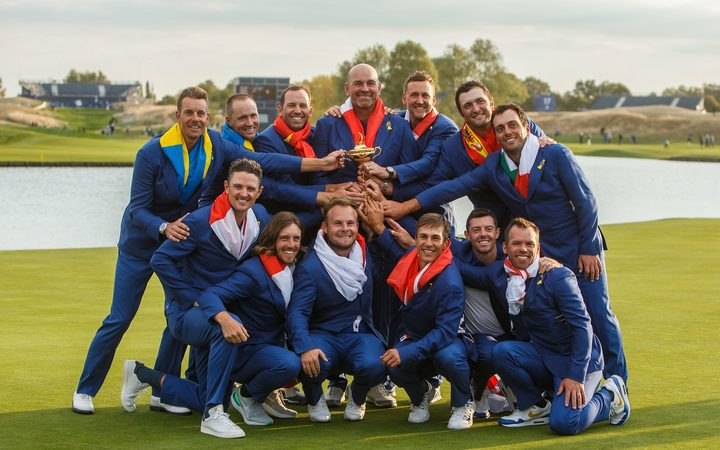 Team Europe celebrate winning the 2018 Ryder Cup