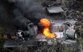 Flames coming out of a ventilation shaft at the Pike River Coal mine soon after the explosion in 2010.