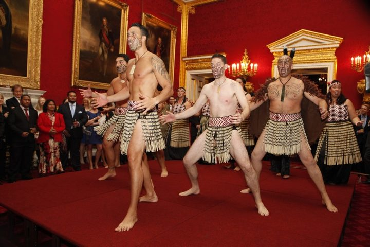 Ngāti Rānana perform a haka for the Prince of Wales and Duchess of Cornwall at Clarence House, London.