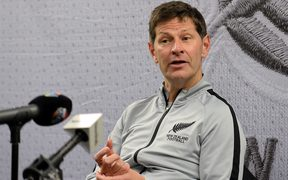 Football Ferns' coach Andreas Heraf addresses the media after the match between the Football Ferns and Japan in June.